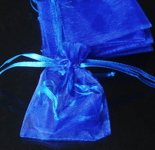 200pcs Royal Blue 9x6.5inch(23x17cm) Organza Bag Pouch for Gift Jewelry Solid Color