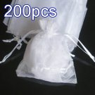 200pcs White 9x6.5inch(23x17cm) Organza Bag Pouch for Gift Jewelry Solid Color