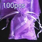 100pcs Lilac Purple 7.8x11.8inch(20x30cm) Organza Bag Pouch for Gift Jewelry Solid Color