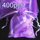 400pcs Lilac Purple 4.7x3.5inch(12x9cm) Organza Bag Pouch for Gift Jewelry Solid Color