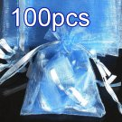 100pcs Baby Blue 7.8x11.8inch(20x30cm) Organza Bag Pouch for Gift Jewelry Solid Color
