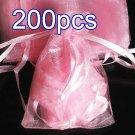 200pcs Baby Pink 9x6.5inch(23x17cm) Organza Bag Pouch for Gift Jewelry Solid Color