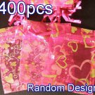 400pcs Hot Pink 2.7x3.5inch(7x9cm) Organza Bag Pouch for Gift Jewelry Random Design