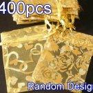 400pcs Yellow 2.7x3.5inch(7x9cm) Organza Bag Pouch for Gift Jewelry Random Design