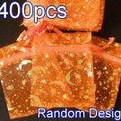 400pcs Orange 2.7x3.5inch(7x9cm) Organza Bag Pouch for Gift Jewelry Random Design