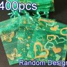 400pcs Green 2.7x3.5inch(7x9cm) Organza Bag Pouch for Gift Jewelry Random Design
