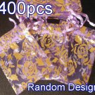 400pcs Lilac Purple 2.7x3.5inch(7x9cm) Organza Bag Pouch for Gift Jewelry Random Design