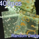 400pcs Light Green 2.7x3.5inch(7x9cm) Organza Bag Pouch for Gift Jewelry Random Design