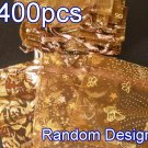 400pcs Brown 2.7x3.5inch(7x9cm) Organza Bag Pouch for Gift Jewelry Random Design