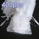 400pcs Ivory 4.7x3.5inch(12x9cm) Organza Bag Pouch for Gift Jewelry Solid Color