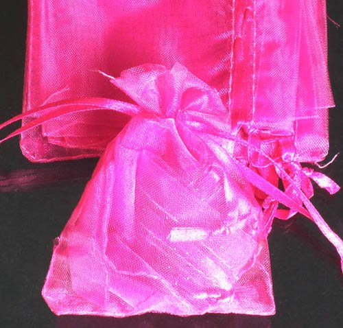 400pcs Hot Pink 2.7x3.5inch(7x9cm) Organza Bag Pouch for Gift Jewelry Solid Color