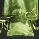 200pcs Olive Green 9x6.5inch(23x17cm) Organza Bag Pouch for Gift Jewelry Solid Color