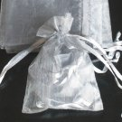 200pcs Silver Gray 9x6.5inch(23x17cm) Organza Bag Pouch for Gift Jewelry Solid Color