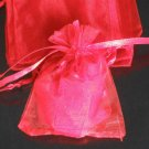 200pcs Red 9x6.5inch(23x17cm) Organza Bag Pouch for Gift Jewelry Solid Color