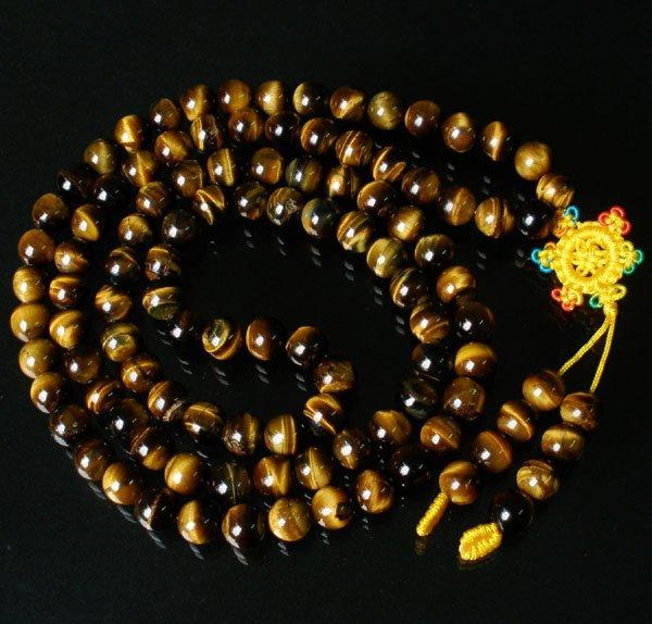 108 Natural Tiger Eye Gem 0.4inch Bead Buddhist Prayer Mala Necklace