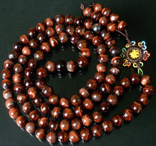 108 Natural Red Tiger Eye Gem 0.4inch Bead Buddhist Prayer Mala Necklace