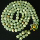 108 Tibet Light Green Gemstone 0.4inch Bead Buddhist Prayer Mala Necklace