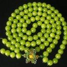 108 Tibet Bean Green Gem 0.4inch Bead Buddhist Prayer Mala Necklace