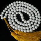 108 Tibet White Gemstone 0.4inch Bead Buddhist Prayer Mala Necklace