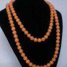 54inch Light Orange Gemstone 0.4inch Bead Long Necklace