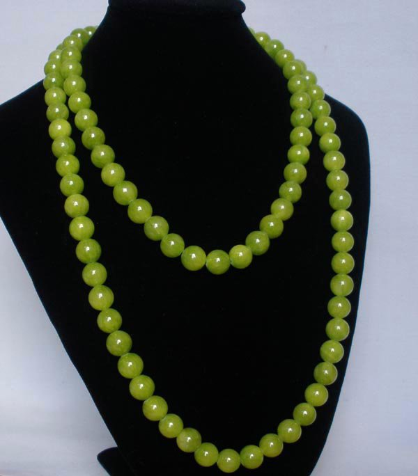 54inch Bean Green Gemstone 0.4inch Bead Long Necklace