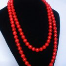 54inch Red Veins Gemstone 0.4inch Bead Long Necklace