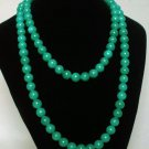 54inch Dark Green Gemstone 0.4inch Bead Long Necklace