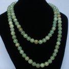 54inch Light Green Gemstone 0.4inch Bead Long Necklace