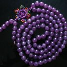 Tibet 108 Purple Agate Gemstone 0.3inch Bead Necklace