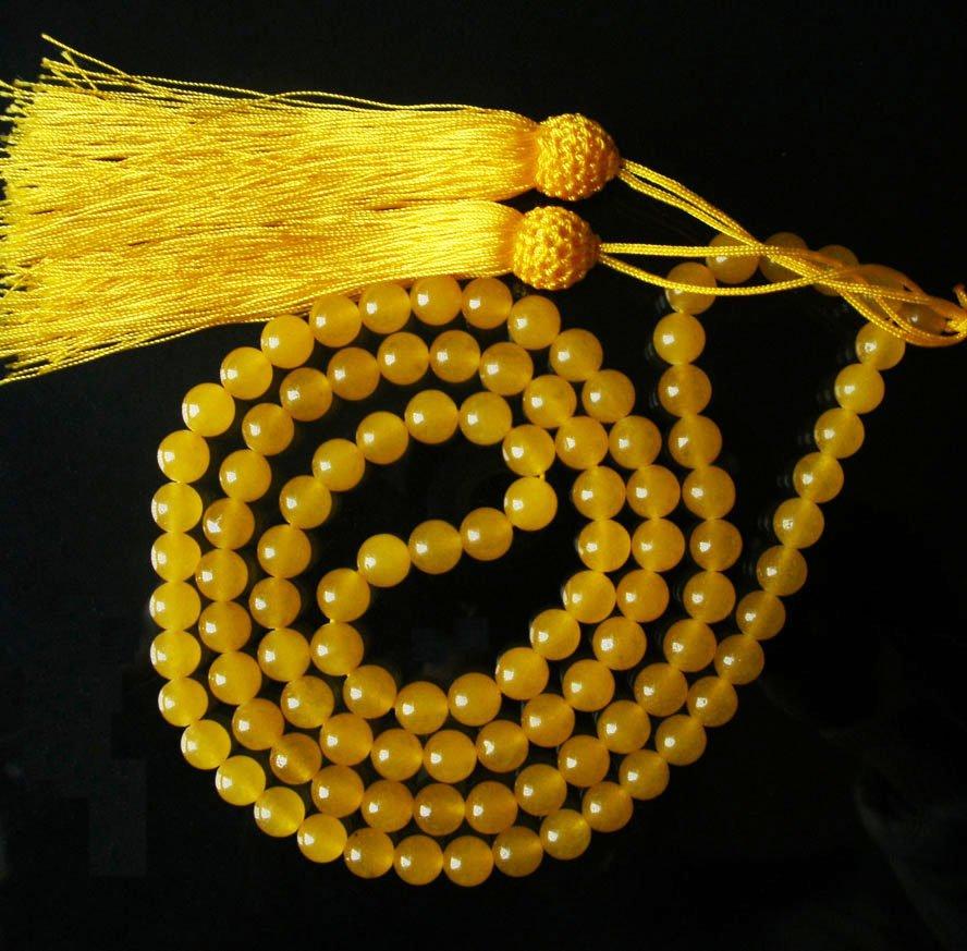 Tibet 108 Yellow Jade Gemstone 0.3inch Bead Necklace