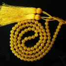 Tibet 108 Yellow Jade Gemstone 0.3inch Bead Necklace