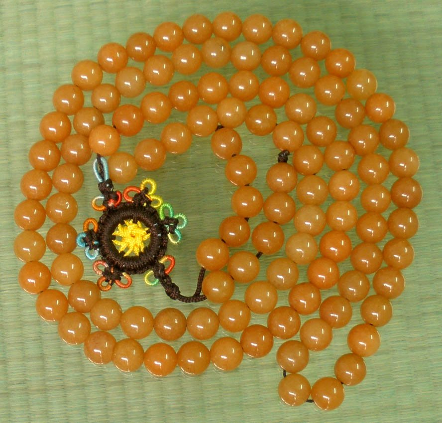 Tibet 108 Natural Orange Dongling Jade Gemstone 0.3inch Bead Necklace