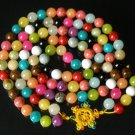 108 Tibet Colorful Gemstone 0.4inch Bead Necklace