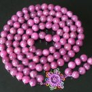 108 Tibet Veins Purple Gemstone Stone 0.4inch Bead Necklace