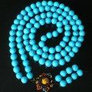108 Tibet Veins Blue Gemstone Stone 0.4inch Bead Necklace