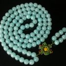 108 Tibet Baby Blue Gemstone Stone 0.4inch Bead Necklace