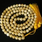 108 Tibet Light Yellow Gemstone Stone 0.4inch Bead Necklace