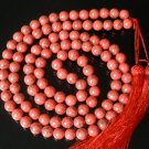 108 Tibet Light Red Veins Gemstone Stone 0.4inch Bead Necklace