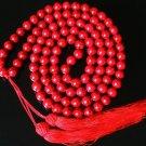 108 Tibet Dark Red Gemstone Stone 0.4inch Bead Necklace