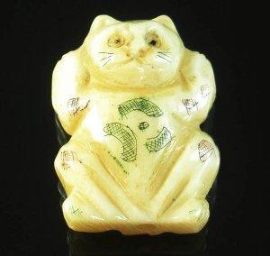 Tibet Yak bone vivid carved lovely cat Pendant IB023