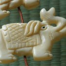 Tibet Yak bone vivid carved long nose lovely elephant Pendant IZ017