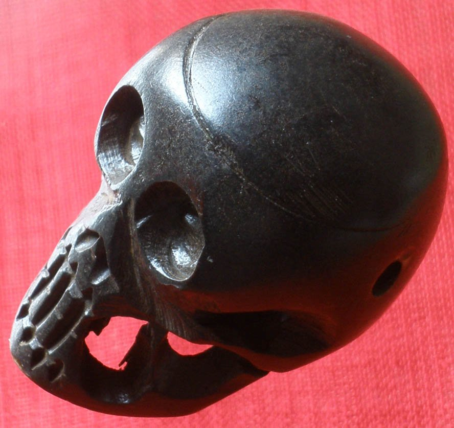Tibet Yak Bone Hand Carved Yellow Human Skull Cranium Framework IZ06