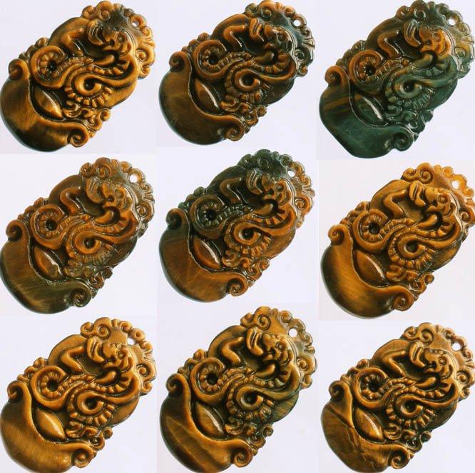 1pcs Natural Tiger Eye Gemstone Carved Snake Boa Pendant One of Tranditional Zodiac
