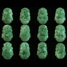 12pcs Jadeite Carved Zodiac Set Rat Ox Tiger Dragon Hare Snake Horse Sheep Monkey Cock Dog Pig