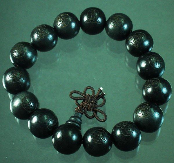Carved Black Wood Beads Buddhist Prayer Mala Bracelet DI79