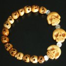 Tibet & Nepal Yak Bone Hand Carved Skulls Chain Bracelet IZ27