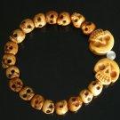 Tibet & Nepal Yak Bone Hand Carved Skulls Chain Bracelet IZ26
