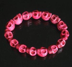 Cool Hot Pink Turquoise Skulls Chain Bracelet for Men Women ZZ205