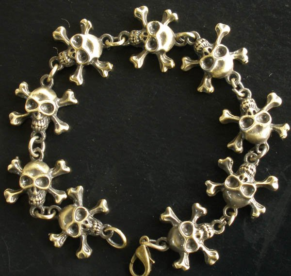 Alloy Zinic Brass Cool Male Men's Gift Skull Skeleton Framework Bracelet EZ2001