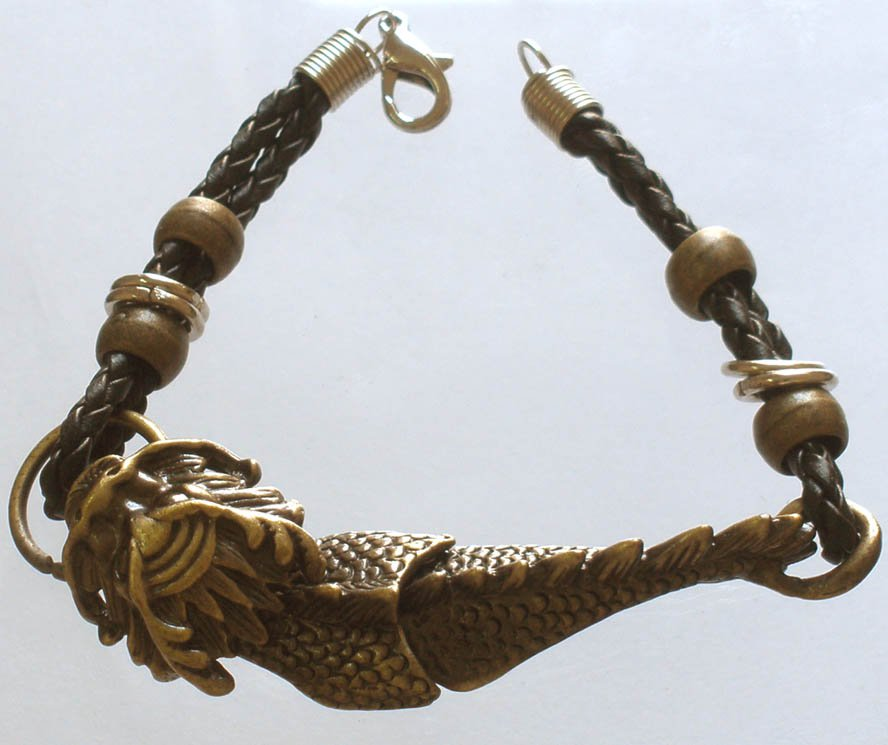 Alloy Zinic Brass Cool Male Men's Gift Ferocity Imperial Dragon Head Bracelet EJ2005